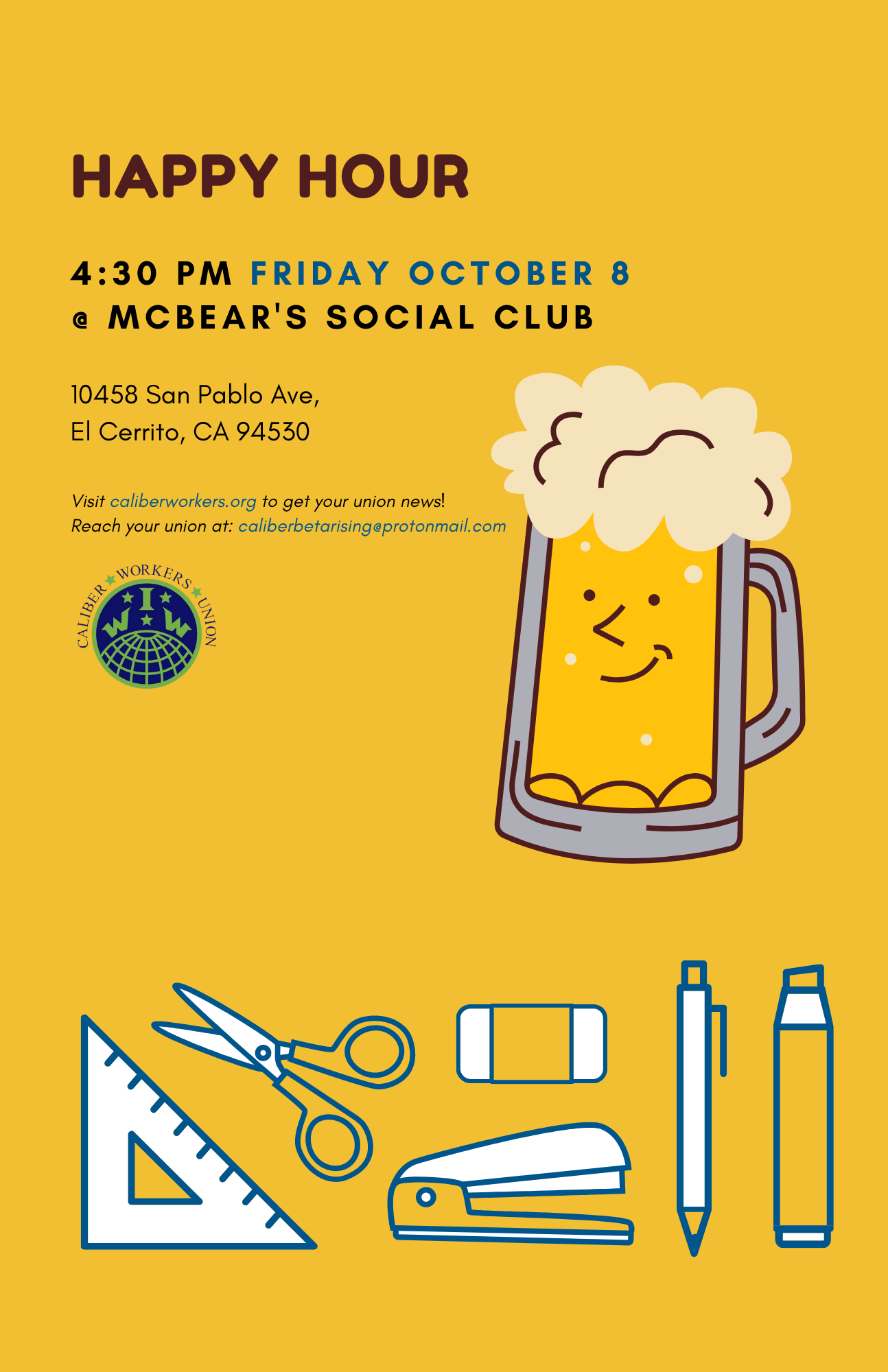 Happy Hour at McBear's Social Club 4:30PM Friday October 8th